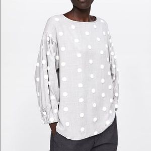 Zara Gray and White Polka Dot shirt